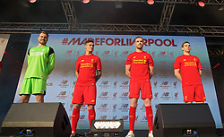 LIVERPOOL, ENGLAND - Monday, May 9, 2016: Liverpool's goalkeeper Simon Mignolet, Philippe Coutinho Correia, captain Jordan Henderson, Jon Flanagan and Gemma Bonner at the launch of the New Balance 2016/17 Liverpool FC kit at a live event in front of supporters at the Royal Liver Building on Liverpool's historic World Heritage waterfront. (Pic by Lexie Lin/Propaganda)