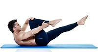 one caucasian man exercising fitness pilates exercices isolated on white background