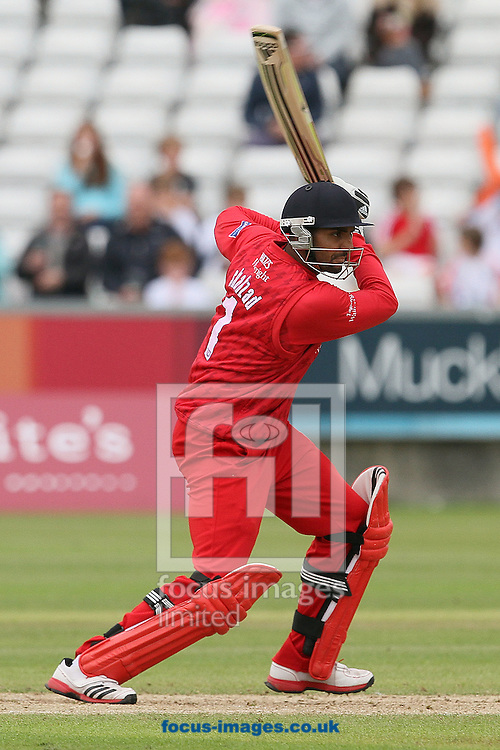 Picture by Mark Fletcher/Focus Images Ltd. 0775 2571576.08/07/12.Ajmal Shahzad of Lancashire Lightning batting against Durham Dynamos during the FL t20 match at Emirates Durham ICG, Chester-le-Street, County Durham.