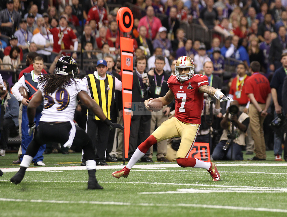 Colin Kaepernick (7) of the San Francisco 49ers in action against the Baltimore Ravens during the NFL Super Bowl XLVII football game in New Orleans on Feb. 3, 2013. The Ravens won the game, 34-31.  (Photo by Jed Jacobsohn)