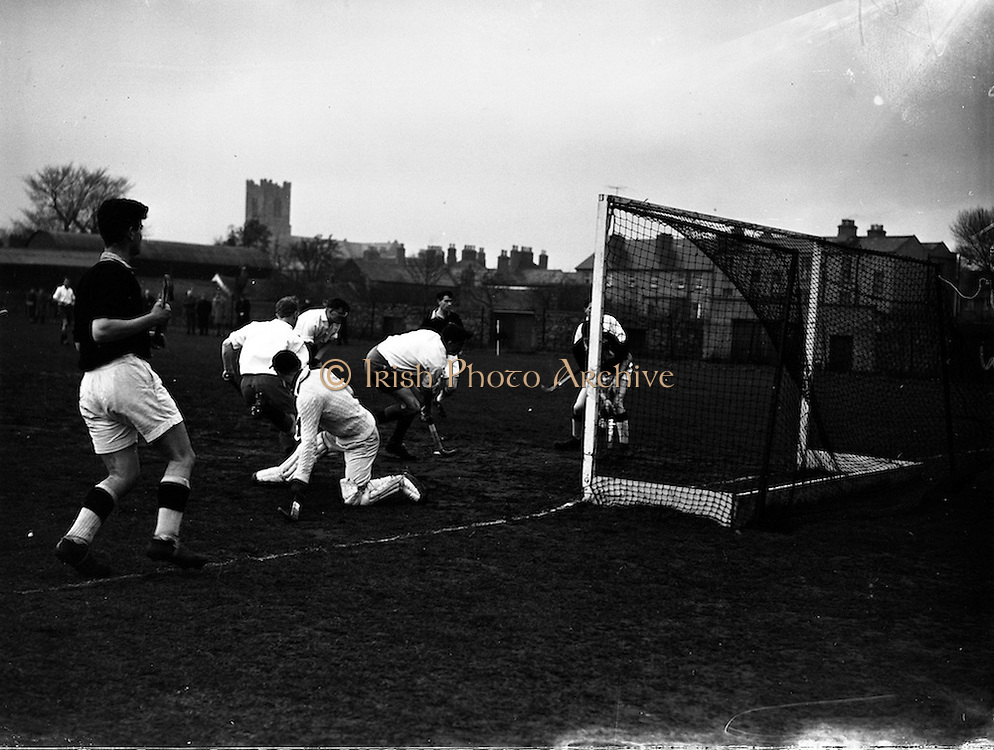 16/01/1960<br /> 01/16/1960<br /> 16 January 1960<br /> Interprovincial Mens Hockey: Ulster v Connaught. Ulster forward Sturgeon (centre of picture, stick on ground) scoring Ulsters second goal (ball in net extreme right) during the Senior Mens Hockey Interprovincial at Londonbridge Road, Dublin.