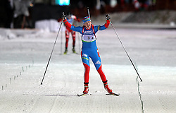04.01.2012, DKB-Ski-ARENA, Oberhof, GER, E.ON IBU Weltcup Biathlon 2012, Staffel Frauen, im Bild Olga Vilukhina (RUS) jubelt im Ziel, Russland gewinnt die Staffel // during relay Ladies of E.ON IBU World Cup Biathlon, Thüringen, Germany on 2012/01/04. EXPA Pictures © 2012, PhotoCredit: EXPA/ nph/ Hessland..***** ATTENTION - OUT OF GER, CRO *****