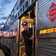 Victor Bennett, conductor, before the train departs Broad Run station during the morning commute.