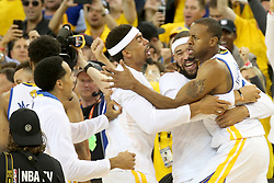 The Golden State Warriors celebrate their championship after defeating the Cleveland Cavaliers, 129-120, in Game 5 of the NBA Finals at Oracle Arena in Oakland, Calif., on Monday, June 12, 2017. (Photo by Ray Chavez/Bay Area News Group/TNS) *** Please Use Credit from Credit Field ***