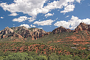 Sedona, USA, Arizona. Moody Red mountain formations. Rain storms brewing.