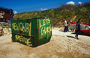 Newquay Massive Let's Gurn graffiti on Fistral beach Newquay UK May 2002