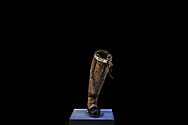 BOGOTA, COLOMBIA - SEPTEMBER 22: A handmade prosthesis from a landmine survivor with difficult access to the health system sits on display at CIREC Foundation on September 22, 2018 in Bogota, Colombia. 40 disabled Colombians, victims of amputations, display their own handmade prosthesis as a work of art to send a message of peace. The orthopedic devises were created with different materials as wood, plastic, soda packaging, clothes, leather and metal. (Photo by Juan  Torres Padilla#740814#51B ED/Getty Images)