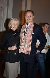 Actor PETER BOWLES and his wife SUE at a party to celebrate the publication of 'Blow Up' - a biography of the late actor David Hemmimgs, held at the Institute of Contemporary Arts, The Mall, London on 27th September 2004.<br />