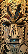 Carved wooden mask at Jack's Handicrafts; Nadi, Viti Levu Island, Fiji.