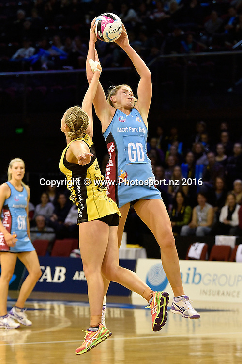 Steel's Storm Purvis (R takes a pass with Pulse's Chelsea Locke during the ANZ Champs Pulse vs  Steel netball match at TSB Arena in Wellington on Monday the 23 May 2016. Copyright Photo by Marty Melville / www.Photosport.nz