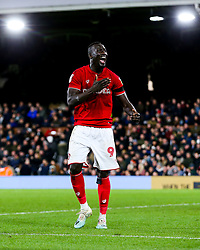 Famara Diedhiou of Bristol City celebrates scoring a goal to make it 0-2 - Rogan/JMP - 07/12/2019 - Craven Cottage - London, England - Fulham v Bristol City - Sky Bet Championship.