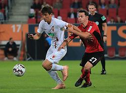 30.09.2018, 1.BL, 1. Bundesliga, FC Augsburg vs SC Freiburg, WWK Arena Augsburg, Fussball, Sport , im Bild:...Ja-Cheol Koo (FC Augsburg) vs Nicolas Hoefler (SC Freiburg)..DFL REGULATIONS PROHIBIT ANY USE OF PHOTOGRAPHS AS IMAGE SEQUENCES AND / OR QUASI VIDEO...Copyright: Philippe Ruiz..Tel: 089 745 82 22.Handy: 0177 29 39 408.e-Mail: philippe_ruiz@gmx.de. (Credit Image: © Philippe Ruiz/Xinhua via ZUMA Wire)