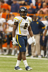 Oct 21, 2011; Syracuse NY, USA;  West Virginia Mountaineers defensive back Keith Tandy (8) lines up for a play against the Syracuse Orange during the fourth quarter at the Carrier Dome.  Syracuse defeated West Virginia 49-23. Mandatory Credit: Jason O. Watson-US PRESSWIRE