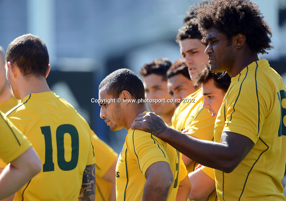 Australian captain Will Genia with Radike Samo during the Australian Wallabies Captain's Run at Eden Park ahead of the Bledisloe Cup and Rugby Championship test match against the New Zealand All Blacks tomorrow. Friday 24 August 2012. Photo: Andrew Cornaga/Photosport.co.nz