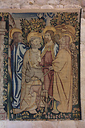 The Entry of Christ into Jerusalem, from the right of the Tapestry of the Last Supper, 15th century, by an unknown artist, in linen, wool, silk and gold thread, in the collection of the Museum of Tortosa Cathedral, in the Cathedral of St Mary, designed by Benito Dalguayre in Catalan Gothic style and begun 1347 on the site of a Romanesque cathedral, consecrated 1447 and completed in 1757, Tortosa, Catalonia, Spain. Picture by Manuel Cohen