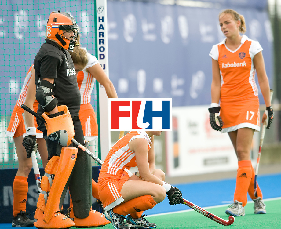 Netherlands' wait for a short corner during their Women's Champions Trophy Final at Highfields, Beeston, Nottingham, 18th July 2010.