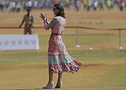 April 10, 2016 - Mumbai, INDIA - <br /> <br /> Britain's Kate, the Duchess of Cambridge, cheers during a cricket game with children at a ground in Mumbai, India, Sunday, April 10, 2016. The royal couple began their weeklong visit to India and Bhutan, by laying a wreath at a memorial Sunday at Mumbai iconic Taj Mahal Palace hotel, where 31 victims of the 2008 Mumbai terrorist attacks were killed.<br /> ©Exclusivepix Media