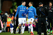 Everton defender Michael Keane (4) and Everton defender Phil Jagielka (6) share a laugh at the end of the Premier League match between Everton and Burnley at Goodison Park, Liverpool, England on 3 May 2019.