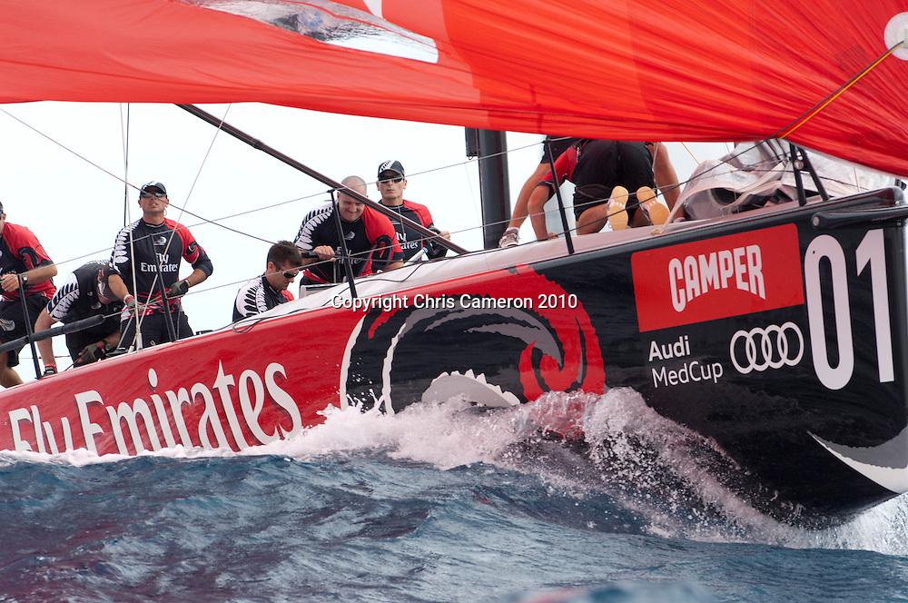 Emirates Team New Zealand in race one. Regata Camper - Conde de Godó Trophy - Barcelona, 22/7/2010