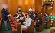 Houston city councilman Jack Christie talks with students from Austin High School for participation in the Pathfinders program and students from Worthing High School for participation in the PACE program before a meeting of the city council, December 6, 2016.