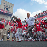 10 September 2016: Ohio State Buckeyes head coach Urban Meyer leads his team onto the field for the start of the game between the Tulsa Golden Hurricanes and the Ohio State Buckeyes at Ohio Stadium in Columbus, Ohio. (Photo by Khris Hale / Icon Sportswire)