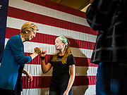 03 MAY 2019 - AMES, IOWA: Sen. ELIZABETH WARREN (D-MA) talks to a girl who waited to have her picture taken with the Senator after her campaign appearance at Iowa State University in Ames. Sen. Warren is campaigning in Iowa Friday and Saturday to promote her bid to be the Democratic candidate for the US Presidency. Iowa traditionally hosts the the first selection event of the presidential election cycle. The Iowa Caucuses will be on Feb. 3, 2020.              PHOTO BY JACK KURTZ
