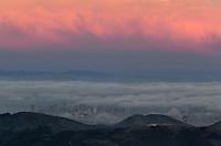 View of Marin Headlands and San Francisco in Fog From Mount Tamalpais State Park, California