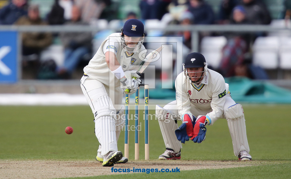 Picture by Paul Gaythorpe/Focus Images Ltd +447771 871632.26/04/2013.Mark Stoneman of Durham County Cricket Club and Jonathan Bairstow of Yorkshire County Cricket Club during the LV County Championship Div One match at Emirates Durham ICG, Chester-le-Street.