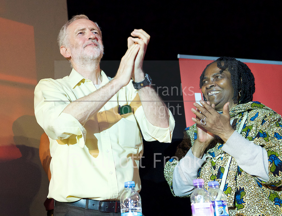 Jeremy Corbyn MP <br /> Rally for the Labour Leadership <br /> at the Camden Centre, London, Great Britain <br /> 3rd August 2015 <br /> <br /> Jeremy Corbyn  <br /> a British Labour Party politician who has been the Member of Parliament for Islington North since 1983<br /> <br /> <br /> Photograph by Elliott Franks <br /> Image licensed to Elliott Franks Photography Services