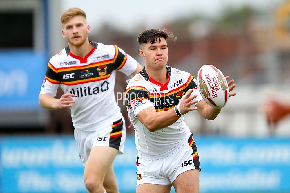 Bradford Bulls second row James Bentley (20) receives the ball during the Kingstone Press Championship match between Sheffield Eagles and Bradford Bulls at, The Beaumont Legal Stadium, Wakefield, United Kingdom on 3 September 2017. Photo by Simon Davies.