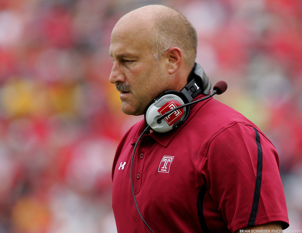September 24, 2011; College Park, MD, USA; Temple Owls head coach Steve Addazio reacts against the Maryland Terrapins during first half at Byrd Stadium in College Park, Maryland. Brian Schneider-www.ebrianschneider.com