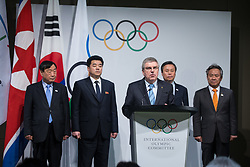 LAUSANNE, Jan. 20, 2018  International Olympic Committee (IOC) president Thomas Bach (Front) speaks during a ceremony after a four-party meeting at the IOC headquarters in Lausanne, Switzerland, Jan. 20, 2018. (Credit Image: © Xu Jinquan/Xinhua via ZUMA Wire)
