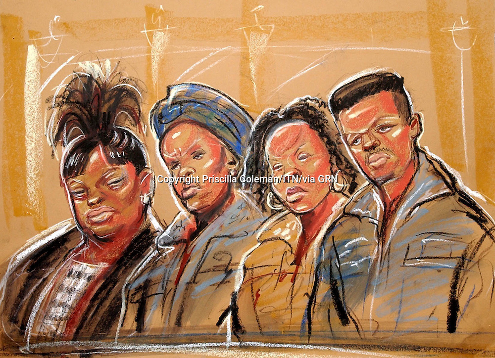 ©PRISCILLA COLEMAN ITN NEWS 17.09.04.ARTWORK SHOWS : 4 DEFENDANTS APPEARED AT THE OLD BAILEY CHARGED WITH CONSPIRACY TO MURDER, CHILD CRUELTY AND AIDING AND ABETTING. IN THE DOCK FROM LEFT TO RIGHT ARE SITA KISANGA, ADELINA MUANZA, KIWONDE KIESE AND SEBASTIAN PINTO.
