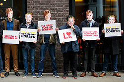 © Licensed to London News Pictures. 12/05/2017. London, UK. Conservative campaigners stage a protest before Labour leader JEREMY CORBYN arrives to make a speech on defence and security at Chatham House, London on Friday, 12 May 2017. Photo credit: Tolga Akmen/LNP