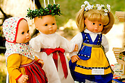 Handmade Swedish Scandinavian doll dresses. Svenskarnas Dag Swedish Heritage Day Minnehaha Park Minneapolis Minnesota USA