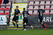 2nd Aug 2019, East End Park, Dunfermline, Fife, Scotland, Scottish Championship football, Dunfermline Athletic versus Dundee;  Kevin Nisbet of Dunfermline Athletic is congratulated after scoring for 2-0 by Josh Coley