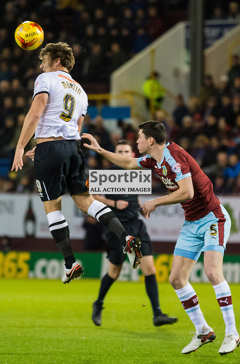 Derby County forward Chris Martin (9) rises high to win a header in the Championship match between Burnley and Derby County<br /> (c) John Baguley | SportPix.org.uk