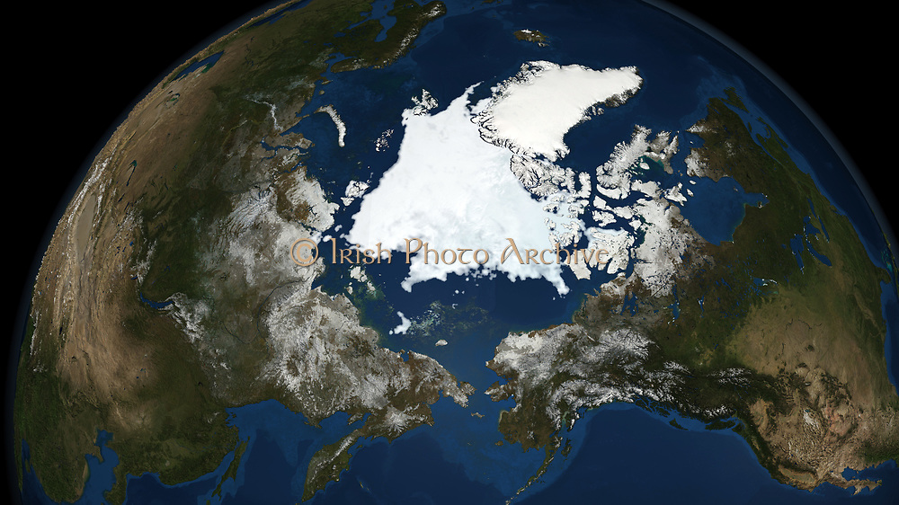 National Snow and Ice Data Centre  observations of the Arctic Sea ice coverage in 2008, the second-lowest amount recorded.  Credit NASA: Science Earth Geology Oceanography