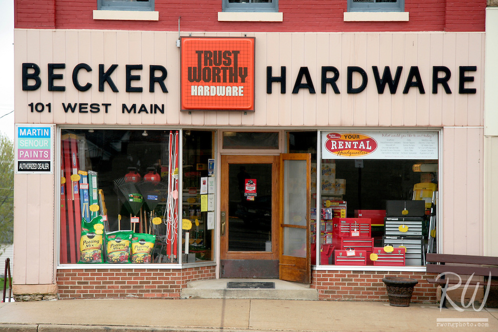 Becker Hardware on Main Street in Small Town, Ossian, Iowa