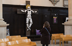 "A controversial sculpture of a Star Wars Stormtrooper crucifix is to be removed from St.Stephen Walbrook church in the City of London, following complaints by the church's parishioners. The artwork is the creation of Ryan Callanan, an artist whose street artist pseudonym is RYCA. Church authorities have asked for the £12,000 piece to be removed by 4pm on Tuesday March 13th. St.Stephen Walbrook is hosting Art Below's 'Stations of the Cross' exhibition which opens on March 14th. The exhibition is ""...designed to provoke thought from artists grappling with their response to the challenge and scandal of Christ's cross"". London, March 13 2018."