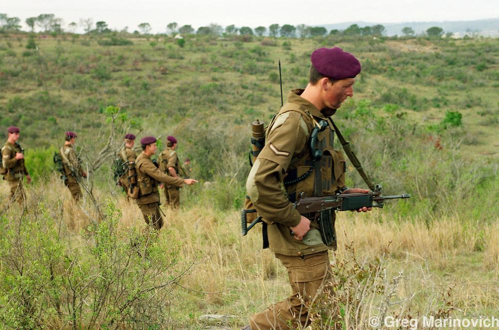 KwaZulu natal. South Africa. 1994. SADF soldiers conduct a search through bushveld in KwaZuluNatal 1994.