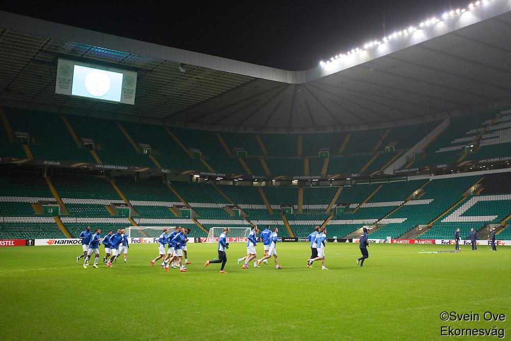 UEFA Europa League 2015: Celtic - Molde. Molde trener på Celtic Park dagen før Europa League kampen mellom Celtic og Molde på Celtic Park.