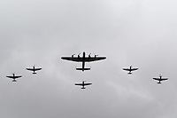 LONDON - JUNE 05: Battle of Britain Memorial Flight; Avro Lancaster, Hawker Hurricane, Supermarine Spitfires; The Queen's Diamond Jubilee, The Mall, London, UK. June 05, 2012. (Photo by Richard Goldschmidt)