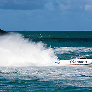 Maritimo 11, rooster tail, Inboard Engine Class, in the Offshore Superboat Championships Coffs Harbour, New South Wales, Australia
