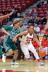 10 December 2017: Viria Livingston drives on Corrione Cardwell during an College Women's Basketball game between Illinois State University Redbirds and the Eagles of Eastern Michigan at Redbird Arena in Normal Illinois.