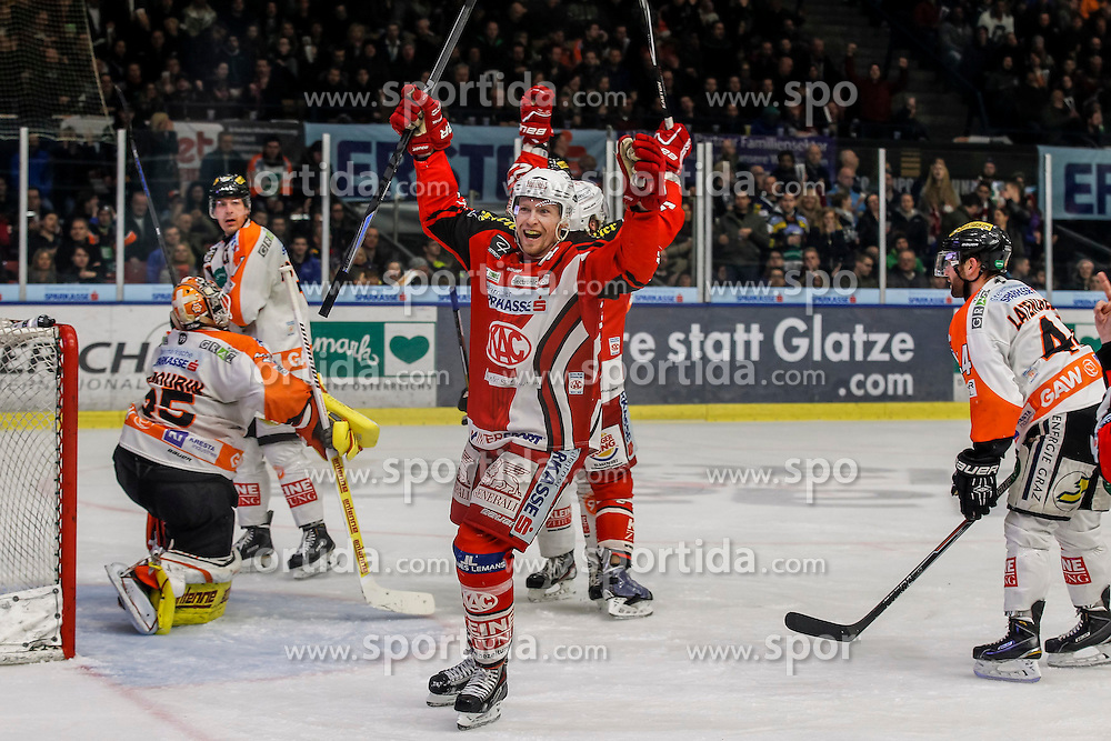 27.02.2015, Eisstadion Liebenau, Graz, AUT, EBEL, Moser Medical Graz 99ers vs EC KAC, 52. Runde, im Bild Danny Sabourin (Moser Medical Graz 99ers), Anders Bastiansen (Moser Medical Graz 99ers), Jamie Lundmark (EC KAC) und Olivier Latendresse (Moser Medical Graz 99ers) // Danny Sabourin (Moser Medical Graz 99ers), Anders Bastiansen (Moser Medical Graz 99ers), Jamie Lundmark (EC KAC) and Olivier Latendresse (Moser Medical Graz 99ers) during the Erste Bank Icehockey League 52nd Round match between Moser Medical Graz 99ers and EC KAC at the Ice Stadium Liebenau, Graz, Austria on 2015/02/27, EXPA Pictures © 2015, PhotoCredit: EXPA/ Erwin Scheriau