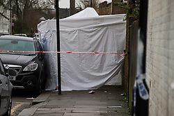The scene on Chalgrove Road in Tottenham where a 17 year-old girl was shot dead at around 9.30pm on Monday 2nd April. London, April 03 2018.