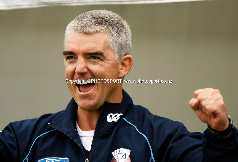 Auckland coach Paul Strang celebrates the teams win. Canterbury Wizards v Auckland Aces in the One Day Competition Final. QEII Park, Christchurch, New Zealand. Sunday, 13 February 2011. Joseph Johnson / PHOTOSPORT.