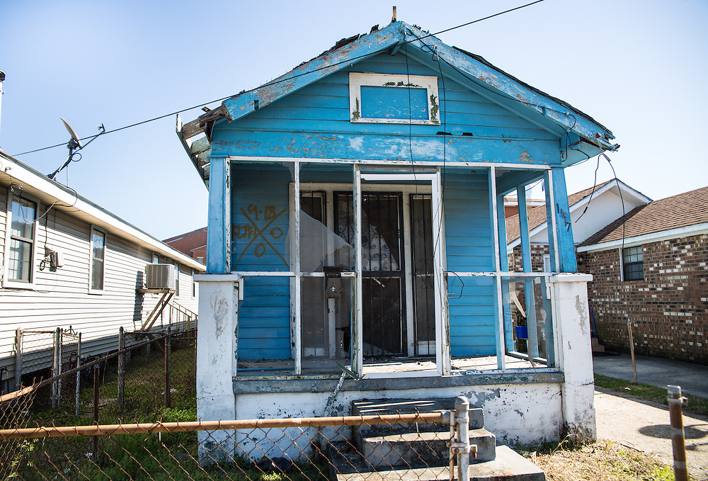 "New Orleans, LA, January 20, Home in New Orleans lower 9th Ward with a  Katrina tattoo, a ""X"" code, spray-painted by search-and-rescue teams on homes after hurricane Katrina.Nine years after hurricane Katrina parts of the city have still not recovered."