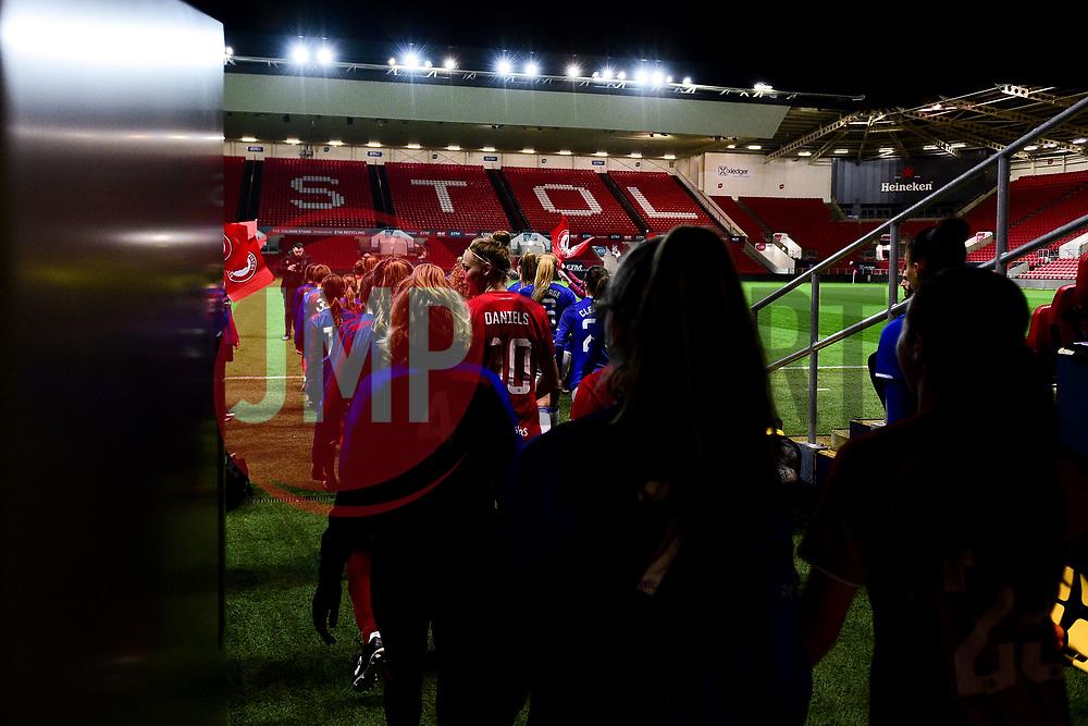 Bristol City Women and Everton Women enter the field prior to kick off - Mandatory by-line: Ryan Hiscott/JMP - 17/02/2020 - FOOTBALL - Ashton Gate Stadium - Bristol, England - Bristol City Women v Everton Women - Women's FA Cup fifth round